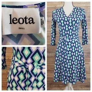 Leota S SMALL Geometric Pattern Midi Dress